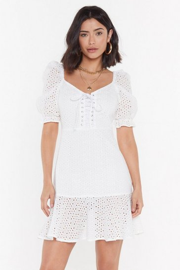 Womens White Sew On Broderie Anglaise Mini Dress