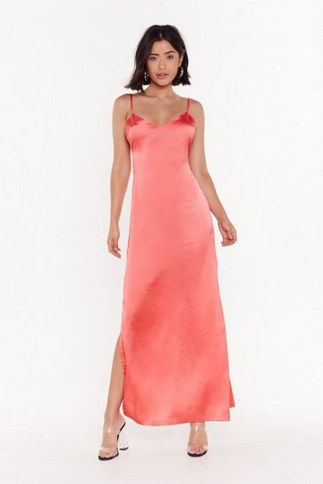 Womens Coral Low Back Satin Slip Dress