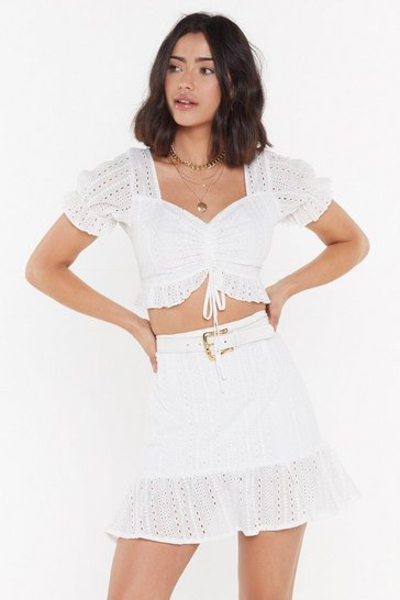 White The Warmth of the Sun Broderie Anglaise Mini Skirt