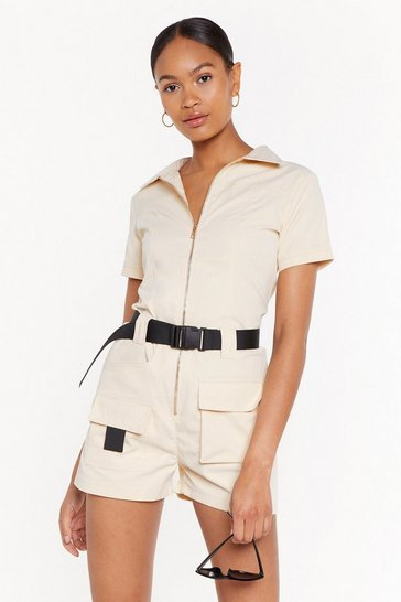 Womens Cream Ready to Roll Belted Utility Romper