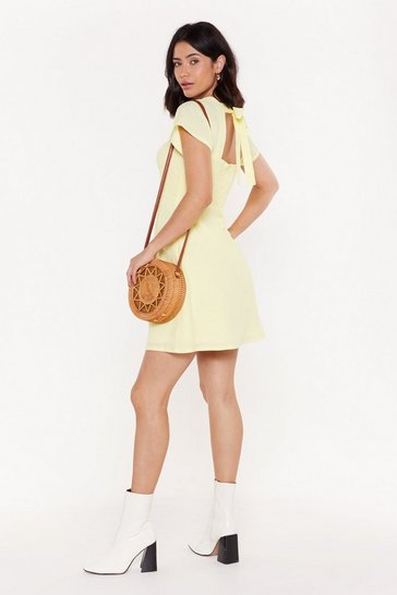 Womens Lemon Tie Your Luck Shirred Tie Dress