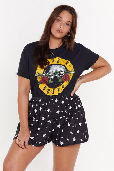 Black Counting Stars Plus High-Waisted Shorts