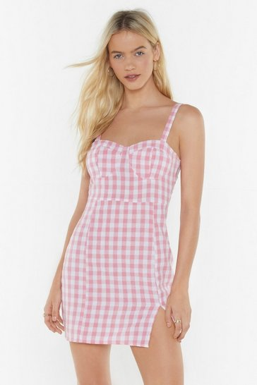 Womens Coral Cup Detail Gingham Mini Dress