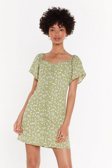 Womens Green I Was Lost Button Down Dress