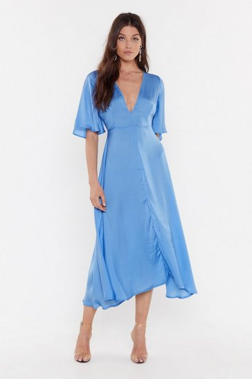 Womens Light blue Give It a Whirl Plunging Dress
