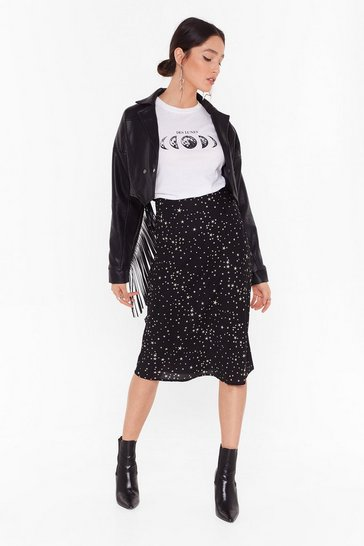 Womens Black Bias Cut Midi Skirt