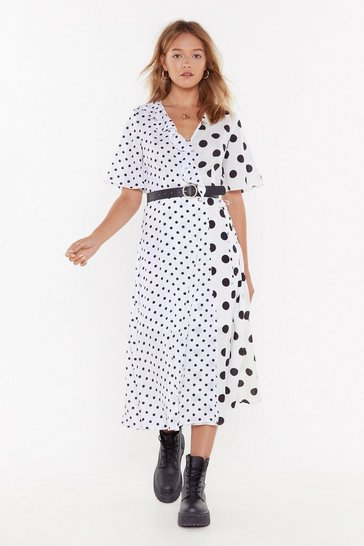 Womens White Let's Play Dot to Dot Ruffle Midi Dress