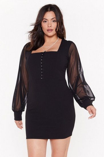 Womens Black Hooked on Your Love Plus Mesh Mini Dress