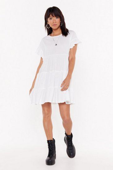Womens White Frill Into You Crinkle Mini Dress