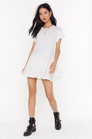 Womens White We Came Tier For Love Relaxed Mini Dress