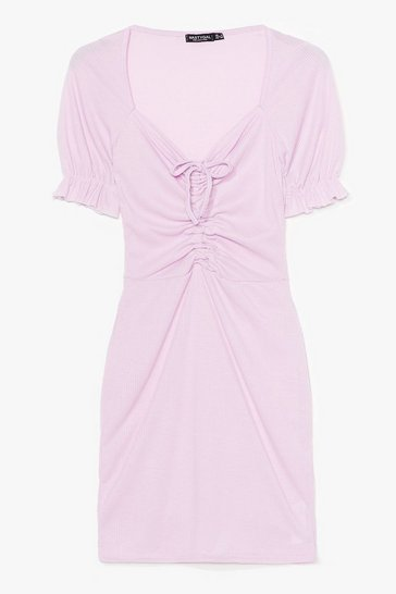 Lilac Fret Knot Tie Front Mini Dress