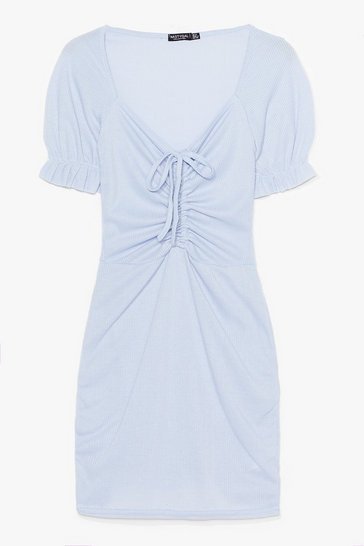 Pale blue Fret Knot Tie Front Mini Dress