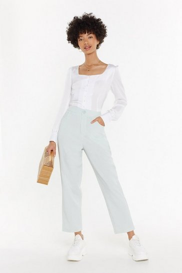 Womens Sage Straight Leg Turn Up Trousers