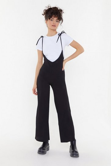 Womens Black Right On Time Tie Tee Jumpsuit