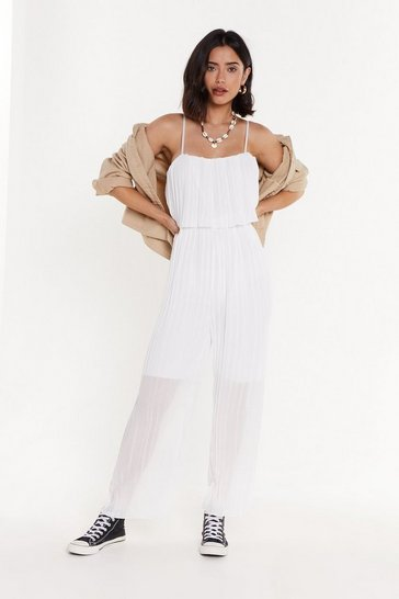 Womens White Look at Those Pleats Go Layered Wide-Leg Jumpsuit