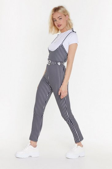 Womens Black Stripe On Time Tie Tee Jumpsuit