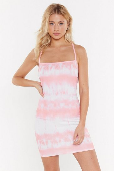 Womens Pastel pink Positive Vibes Only Tie Dye Mini Dress