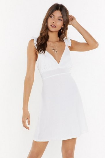 Womens White Pastel Rib Mini Dress
