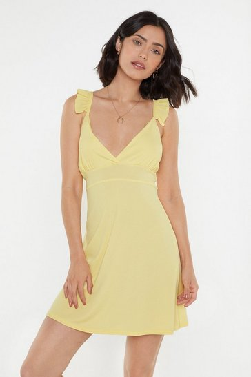 Womens Lemon Pastel Rib Mini Dress