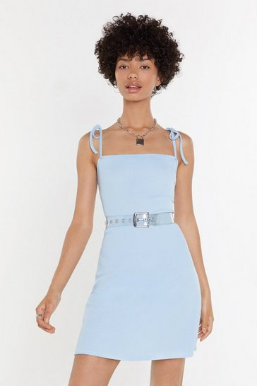 Womens Cornflower blue Rib Tie Shoulder Flippy Mini Dress