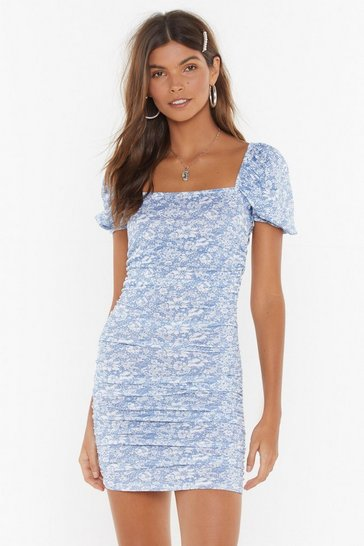 Cornflower blue Got a Puff on You Floral Square Neck Dress