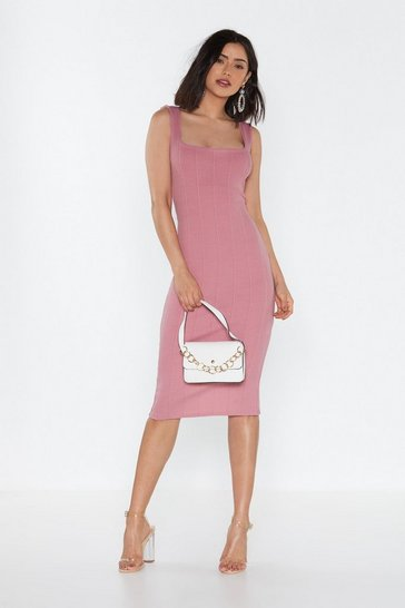 Womens Rose Square Neck Bandage Midi Dress