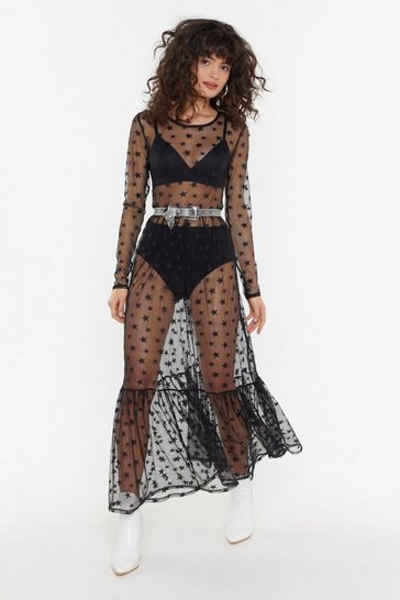 Womens Black Mesh Your Soul Star Midi Dress