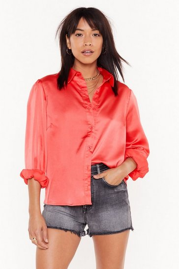 Womens Coral Pocket in Satin Relaxed Shirt