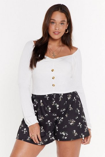Womens Black MS Floral Flippy Short