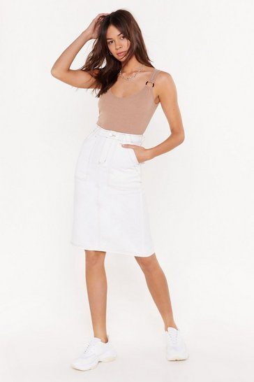 Womens Ecru It's a Complex Stitch-uation Denim Midi Skirt