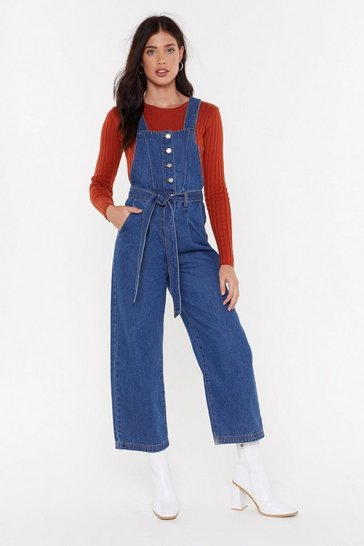 Womens Mid blue Tie Me Denim Belted Dungarees