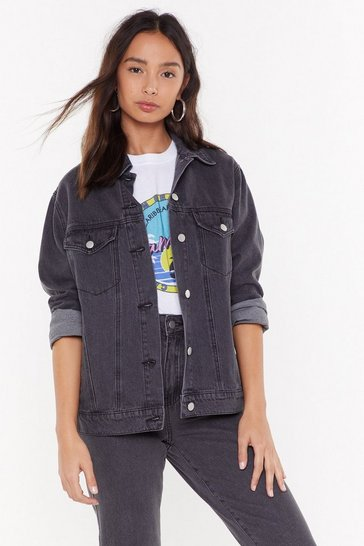Womens Grey Denim Boyfriend Jacket