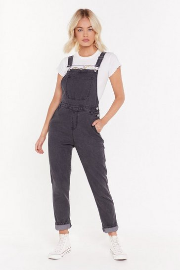Womens Grey Denim Boyfriend Dungarees