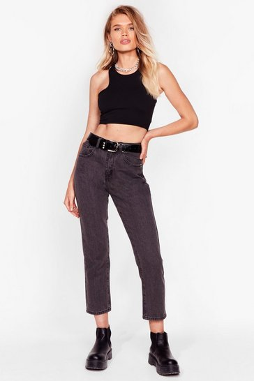 Grey High Waisted Crop Jeans