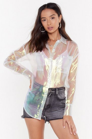Womens White Shimmer on Down Organza Shirt