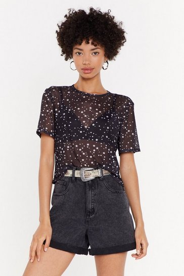 Womens Black MS Star Print Oversized Tee
