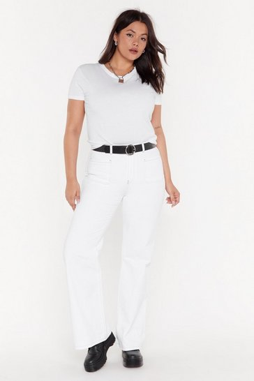 Womens White Getting Stitched Flare Jeans
