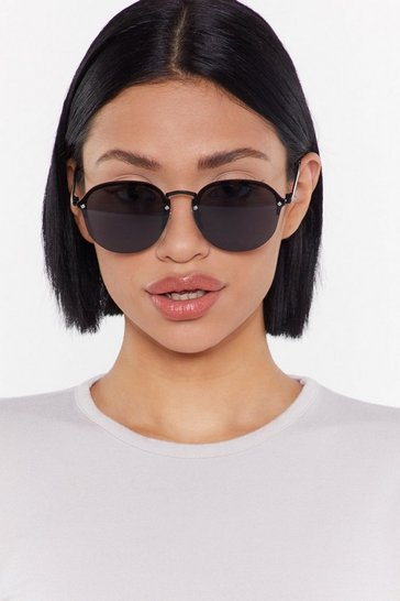 Womens Black Out the Picture Thin Frameless Sunglasses