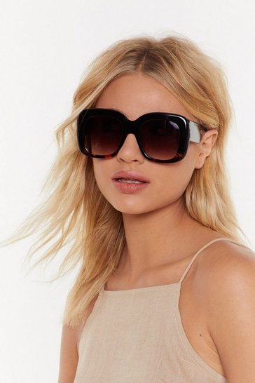 Womens Black Big Talk Oversized Sunglasses