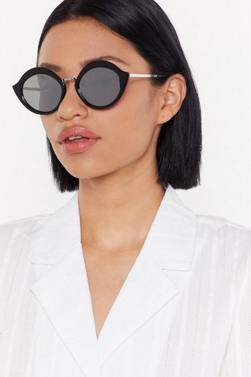 Womens Black On Flick Round Sunglasses