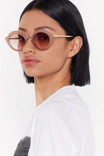 Womens Nude On Flick Round Sunglasses