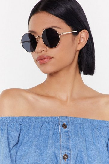 Womens Gold I'm Hexagon Oversized Sunglasses