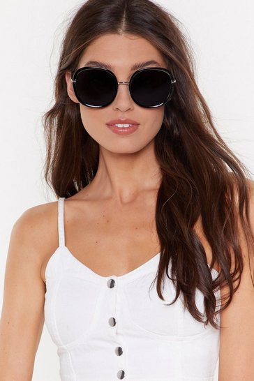Womens Black Big Bad Wolf Oversized Round Sunglasses