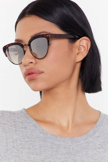 Womens Black Frameless Tort Trim Cat Eye Sunglasses