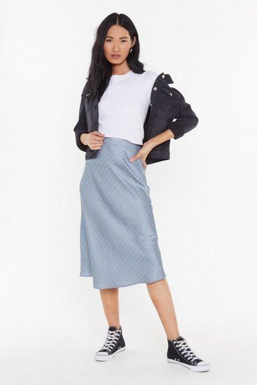 Grey You Make Me Slick Bias Cut Midi Skirt