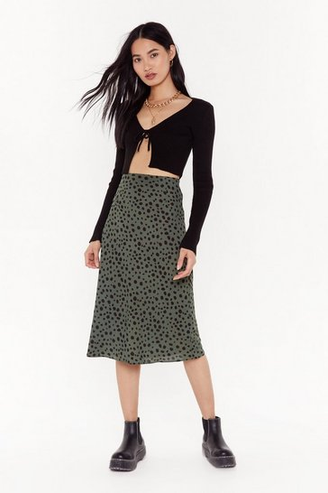 Womens Green A Certified Spotty Midi Skirt