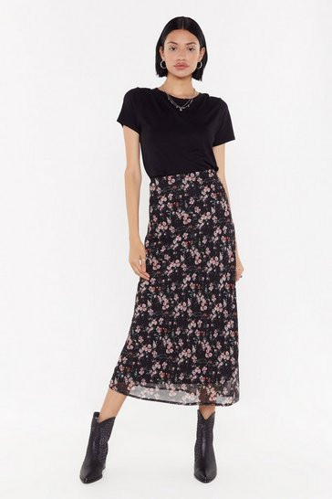 Womens Black Bias Cut Midaxi Skirt In Crinkle Red Floral
