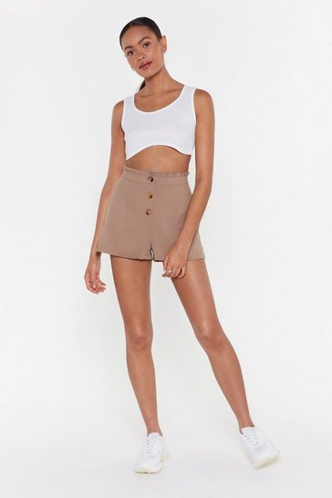 Womens Beige Button Front Short