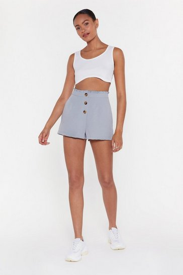 Womens Blue Button Front Short