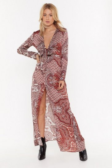 Womens Red Paisley Attention Plunging Maxi Dress